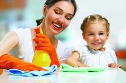 32432984 - happy family do the cleaning