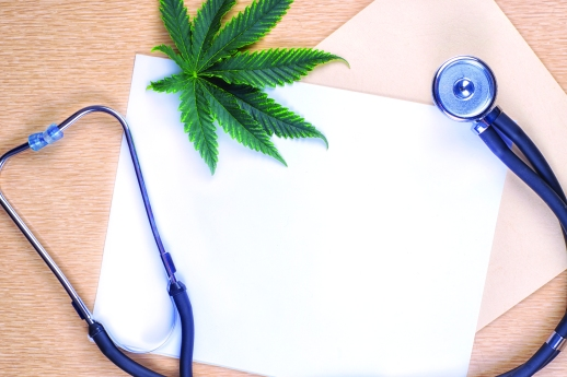 Medical marijuana background with blank paper